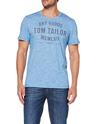 TOM TAILOR Herren Casual Logo T-Shirt, Elfenbein (White Teal Yarndye S 19496), X-Large