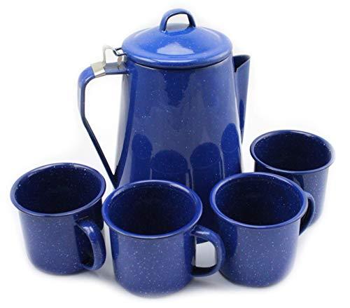 Vrijetijdsprofessionals koffiepot met percolator en 4 kopjes emaille Western blauw camping & outdoor, geschikt voor kampvuur