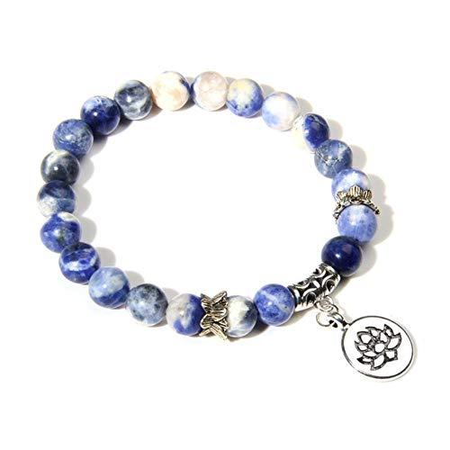 ASIG Handgemaakte Natuurlijke Zebra Stone Lotus Charm Armband voor Vrouwen Mannen Yoga Sieraden Geschenken