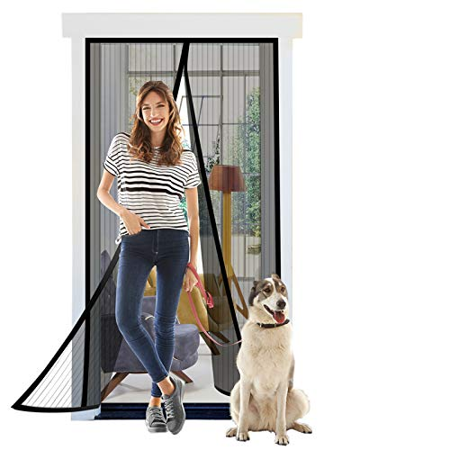 """Titan Mall Magnetic Screen Door 39""""W x 82""""H with Super Tight Self Closing Magnetic Seal and Full Frame Hook & Loop Durable Polyester Mesh Curtain Door Net Screen with Magnet Black"""