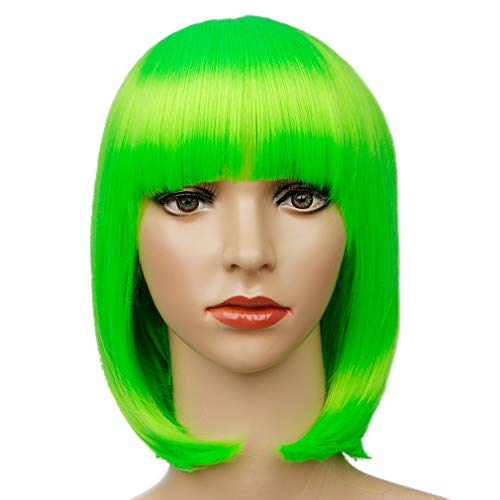Colorful Bird Neon Green Bob Wig with Bangs Synthetic Short Straight Bob Wig Cosplay Party Wig for Girls (Fluorescent Green,12 inches)