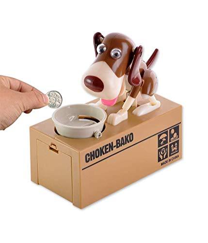 MUCHEN SHOP Perro Caja de Ahorro de Dinero,Divertida Hucha de Perro Perro Hambriento Caja de Ahorro de Dinero Piggybox Hungry Dog Piggy Bank Caja de Ahorro Juguete para Niños Marrón Blanco