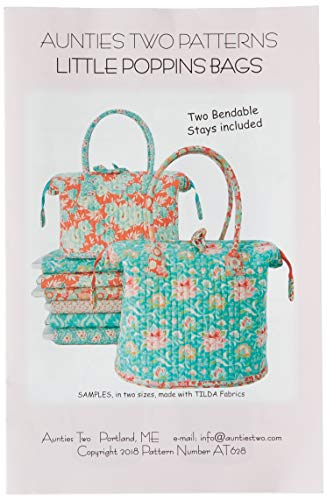 Little Poppins Bag Sewing Pattern with Two Bag Stays by Aunties Two