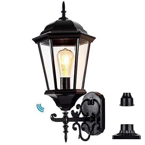 """Outdoor Wall Lantern Dusk to Dawn Wall Lights Fixture with Photocell Sensor 21"""" Large Post Light/Pole Light/Porch Light/Carriage Light with Pole/Pier Mount Base Bulb Included"""
