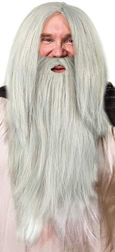 Balinco Peluca Gris Mago en un Conjunto con una Barba Gris para los Hombres y Damas Mago Mago Gandalf Merlin Carnaval