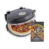 Forno per Pizza Peppo, Pizza Maker Elettrico a 350 °C con Timer e Spia di Cottura, incluse 2 Spatole grandi per Pizza - antracite