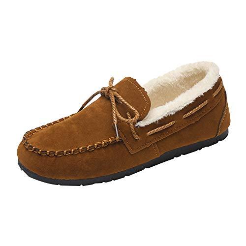 Xinvivion Mokassins für Damen, Weiche Faux Wildleder Hausschuhe Winter Warm Gefüttert Halbschuhe Freizeitschuhe Bootsschuhe Loafers