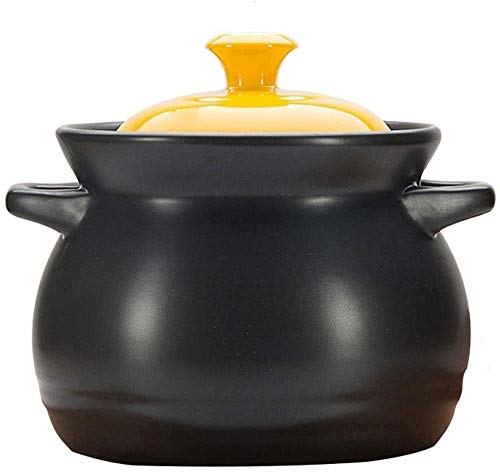 Casserole Dishes Clay Cooking Pots - Ceramic Mini Casserole with Lid-3500ML_Yellow