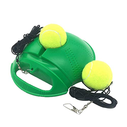 Fill n Drill Tennis Trainer with 2 Rebound Balls for Youth Intensive Tennis Training equipment,Binory Kids Adults Beginners Forehand Backhand Wrist Skills Single Practice Aids Tool Sports Gift(Green)