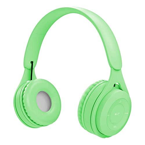 HYMKL Cuffie musicali in stile paraorecchie senza fili BT 5.0 auricolare TF card lettore MP3 con microfono batteria ricaricabile da 200 mAh (verde)