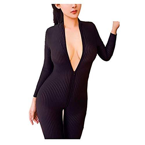 HNGPB Damen Einteiler mit Streifen, Ganzkörperanzug, Strumpfhose, Einteiler, Tanzbekleidung, Einteiler, sexy, Reißverschluss, Spandex, Bodysuit, Nachtclub-Kostüm, a