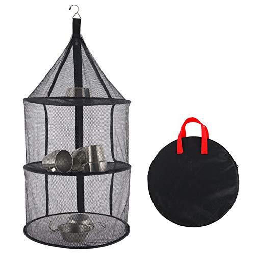 Ironhorse Red de secado al aire libre de tres capas redonda plegable de almacenamiento de la red de almacenamiento de la bolsa de la red de secado de pescado, frutas y verduras estante de secado