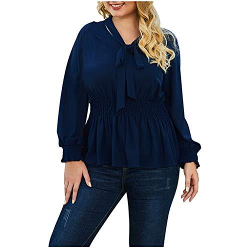 Luckycat Camisetas Oficina Mujer Blusas Manga Larga Cuello en V Casual T-Shirt con Arco Camisetas Primavera Suelta Tallas Grandes Sweatshirt Tumblr Blusa Tops con Volantes