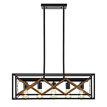 DHK Wot Farmhouse Chandelier Kitchen Island Lighting Dining Room Lighting Fixtures Hanging Rectangle Black Chandelier with 5 Lights Rustic Wood Grain Finish 31.4  Adjustable Height