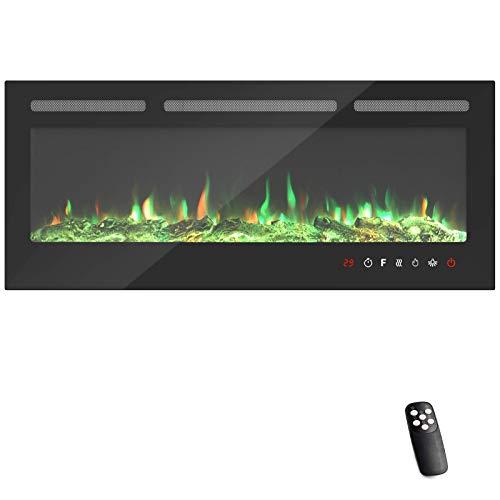 KUPPET 127 cm Elektrischer Kamin Versenkt und an der Wand Montiert mit Sicherheitsabschaltung & Timer, Touchscreen-Bedienbildschirm & Fernbedienung, Digitaler LED-Anzeige, Schwarzem Glas