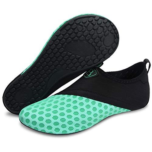 Sapato esportivo aquático de secagem rápida Barerun Barefoot para natação, praia, piscina, surfe, yoga, para mulheres homens, Black Light Green, 8.5-9.5 Women/7-7.5 Men