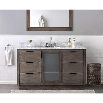SJ Collection Kerr 60 in. Modern Style Single Sink Bathroom Vanity, Brown Ash