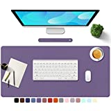 """TOWWI PU Leather Desk Pad with Suede Base, Multi-Color Non-Slip Mouse Pad, 32"""" x 16"""" Waterproof Desk Writing Mat, Large Desk Blotter Protector (Voilet)"""