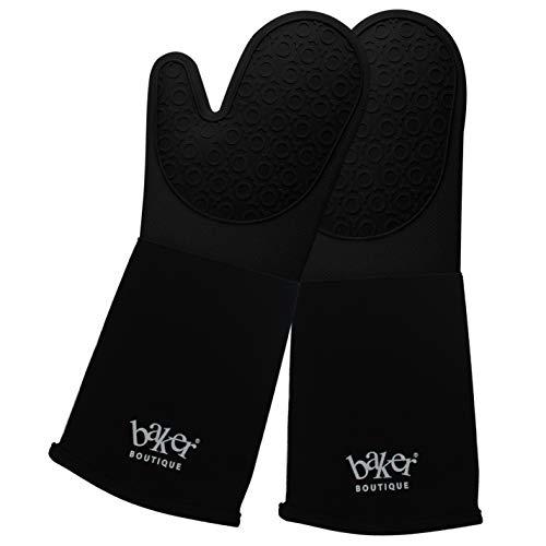 Baker Boutique Silikon-Ofenhandschuhe, Lange Backhandschuhe mit Innenschicht aus Baumwolle, maschinenwaschbar und langlebig, hitzebeständige Ofenhandschuhe für die Küche (extra lang)