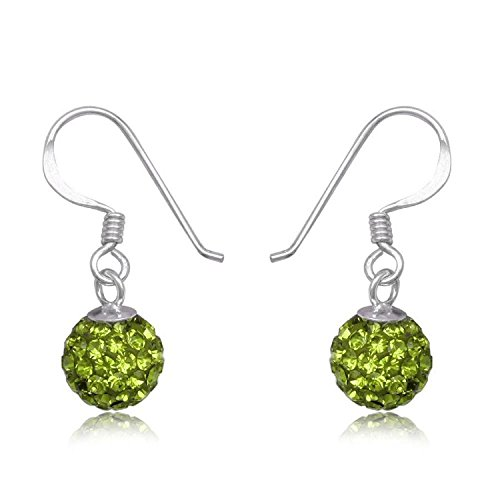8MM Disco Ball Sterling Silver Dangly Drop Hook Earrings - GREEN OLIVINE or Choose From 32 Colours