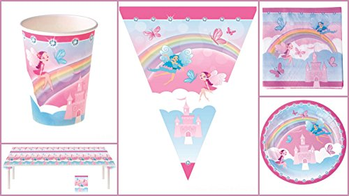 Karneval-Klamotten Set Kindergeburtstag Fee Prinzessin XL inkl. Girlande 38 Teile rosa blau