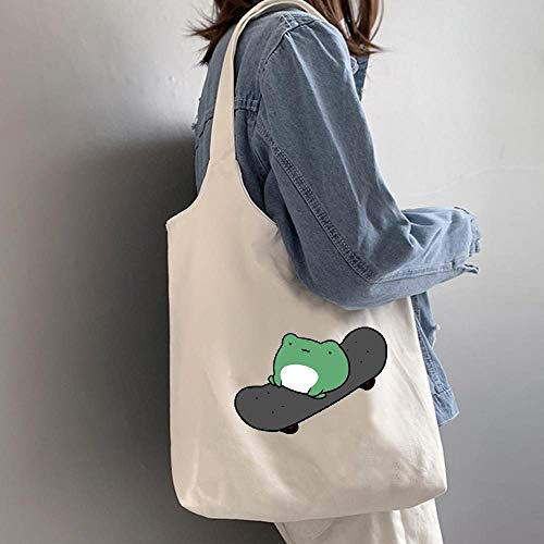 Nette Skateboard Frosch Grafikdruck Leinwand Tasche Weibliche UmhäNgetasche Vintage Mode öKo-Einkaufstasche FüR Frauen Harajuku Taschen,Blanco