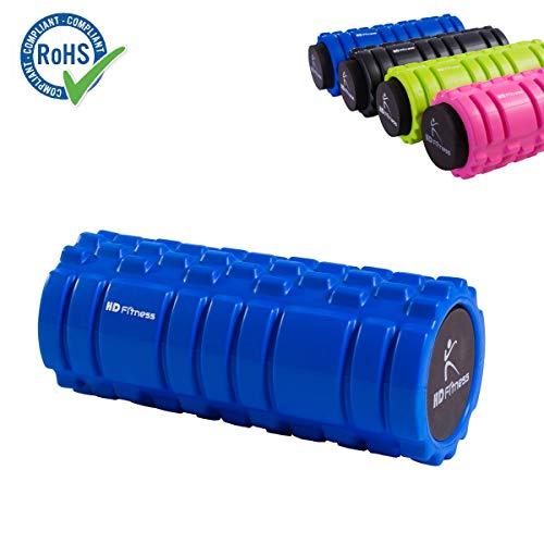 HD Fitness 2 in 1 Faszienrolle blau Yogarolle mit Massagerolle Hohlkern inklusiv Eva Schaummantel 3D Oberfläche Bester Massage Yoga 34cm;RoHS Geprüft Blue