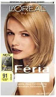 L'Oréal Paris Feria Multi-Faceted Shimmering Permanent Hair Color, 91Champagne Cocktail (Light Beige Blonde), 1 kit Hair Dye