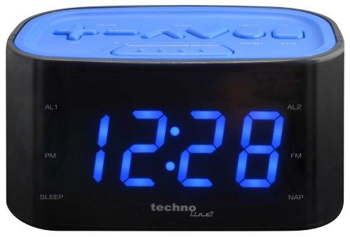Technoline WT 465 LED Radiowecker mit Tasten im Play-Controller Design, blau