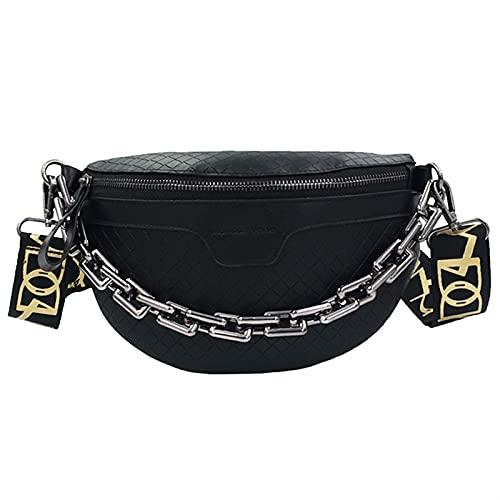 GLADMIN Bolsa de cinturón de Mujer Bolsa de cinturón Cadena Gruesa One Hombro Messenger Bag Bolsa de Pecho Bolso de cinturón Femenino Bolso (Color : Gun Color Chain blac)