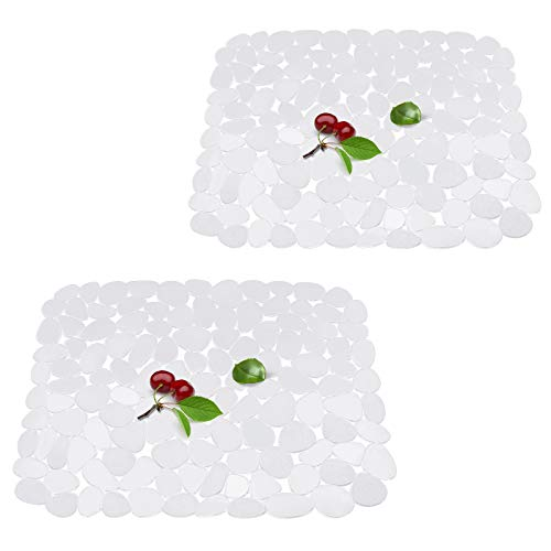 Qulable kitchen Sink Mat For stainless steel/ceramic sinks. Clear PVC Eco-friendly Sink Mat, adjustable, fast draining, pebble design, (2 pack, Clear)