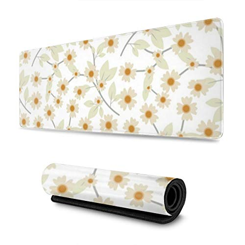 Pressed Yellow Wildflowers Gaming Mouse Pad, Extended Large Computer Keyboard Desk Pad Mat XXL Waterproof Non-Slip Rubber Base with Stitched Edges (30.5¡Á11.8 Inch)