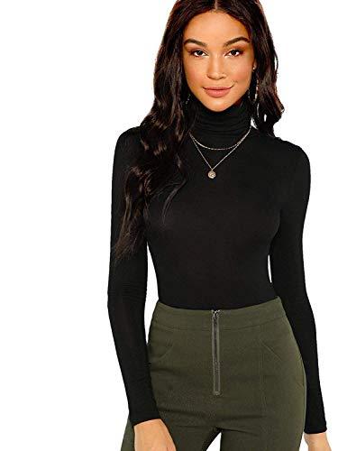 Floerns Women's Long Sleeve Slim Fit Turtleneck Basic T-shirts Black M