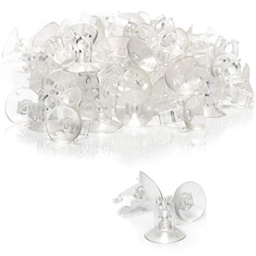 com-four® 100x Saugnapfhalter mit Klemme, transparent für Lichterketten und Dekoration für Weihnachten, Ostern, Silvester