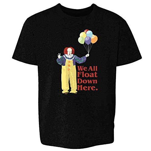 Pop Threads Clown Float Down Here Minimalist Horror Costume Black XS Youth Kids Girl Boy T-Shirt