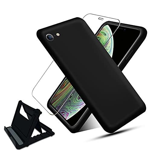 NUDGE Funda para iPhone 7/8/SE(2020) con [Vidrio Templado HD+Soporte Teléfono],Estuche Silicona Líquida, Carcasa a Prueba de Golpes con Forro de Microfibra -Negro