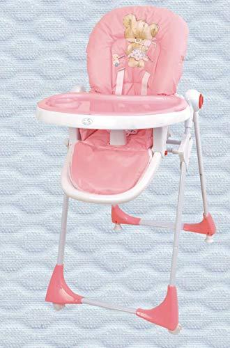 Trona para bebé regulable, doble bandeja, modelo osito rosa, silla bebé. Trona para niños