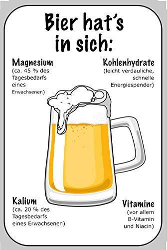 FS Bier hat s in Sich voedingswaarden van Bier metalen bord gebogen metalen sign 20 x 30 cm