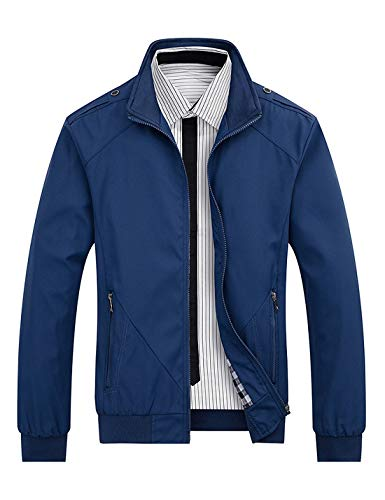 Locachy Men's Casual Long Sleeve Lightweight Full Zip Jacket With Shoulder Straps(Blue,X-Large)