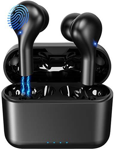 Cuffie Bluetooth 5.0, Auricolari Bluetooth Senza Fili Wireless HD Stereo, Cuffie Wireless con Microfono, Auricolari Sport IP7 Impermeabili, Isolamento del Rumore, Ricarica Rapida e Leggero Mini Design