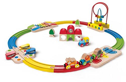 Hape - E3816 - Circuit de Train en Bois - Mon Premier - Coffret - Arc-en-Ciel