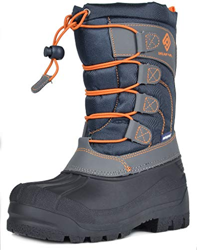 DREAM PAIRS Little Kid Knorth Navy Grey Orange Isulated Fur Winter Waterproof Snow Boots Size 3 M US Little Kid