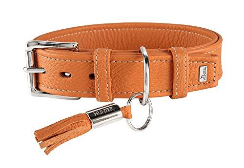 HUNTER CANNES Hundehalsband, Leder, Nappaleder, weich, edel, elegant, 60 (M-L), orange