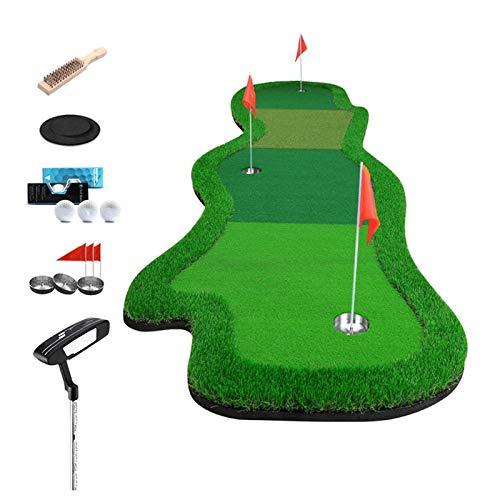 Golf Practice Indoor Golf Greens Multi-Ball Speed Putting Trainer Set Office Home Practice Mat with The Ball Pad Hole Cup Ball Brush Little Red Flag FFFF