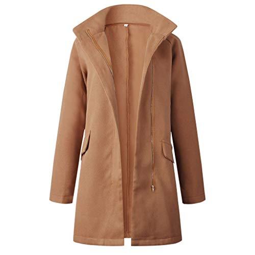 Pumsun Damen Warmer Wollmantel mit Reißverschlusstaschen, lange Ärmel - mehrfarbig - X-Groß