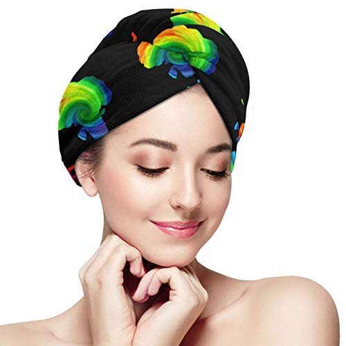 NiYoung Women & Girls Powered by Plants Vegan Hair Drying Towel Anti-Frizz Super Absorbent Soft Wrapped Bath Cap Quick Dry Bath Shower Hair Turban for Drying Wet Hair