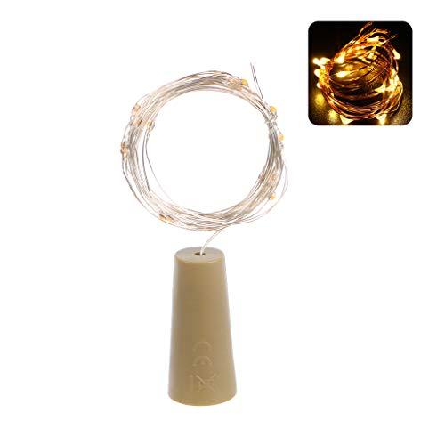 Karrychen 2M 20 LED Botella de Vino Cadena de Luces Lámpara de tapón de Vidrio en Forma de Corcho Navidad DIY- Blanco cálido