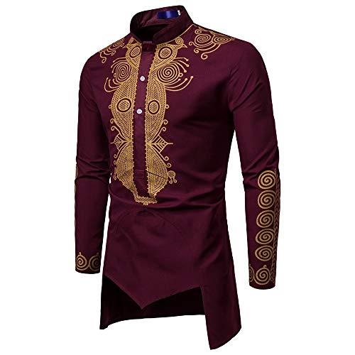 WUSIKY Tshirt Herren Afrika Dashiki Hemd Herren Langarmshirt Slim Fit T Shirt Luxus Print Top Bluse Oversize Oberteile Tshirts Männer Hemden (Rot, L)
