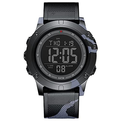 GOLDEN HOUR Reloj Deportivo Digital Impermeable Estilo Militar táctico con retroiluminación LED, Correa de Goma para Hombre (Gris Negro)
