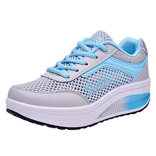 Fenverk Damen Abnehmen Walkingschuhe & Turnschuhe Fitness Keile Plattform Schuhe Sneakers Chic Plateau Schnürer Sneakers Walkmaxx Schuhe Shape-up Fitnessschuhe (Blau,39 EU)